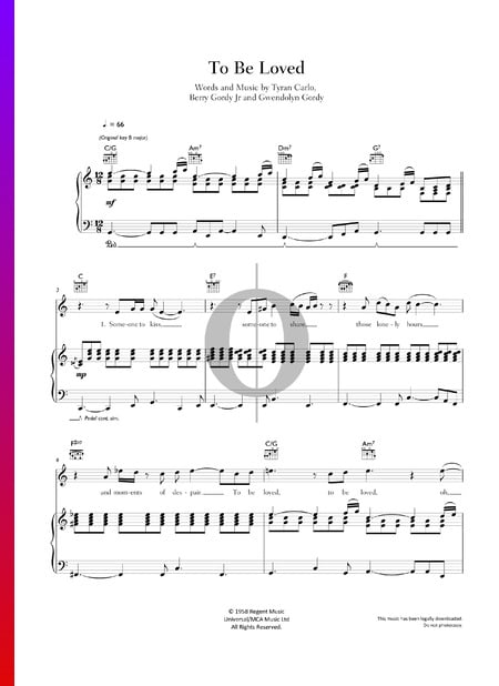 To Be Loved Sheet Music