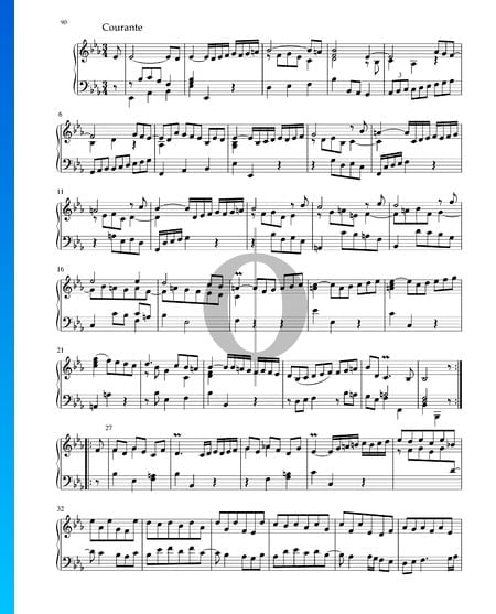 Suite in Es-Dur, BWV 1010: 3. Courante Musik-Noten