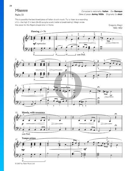 Miserere, Psalm 51 Musik-Noten