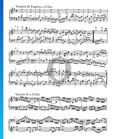 Goldberg Variations, BWV 988: Variatio 10. Fugetta. a 1 Clav. Sheet Music