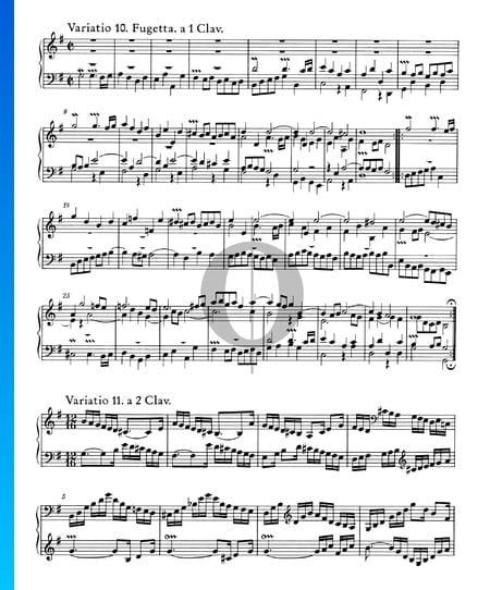 Variaciones Goldberg, BWV 988: Variación 10. Fugetta. a 1 clave Partitura