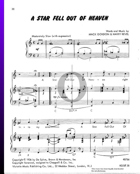 A Star Fell Out Of Heaven Sheet Music
