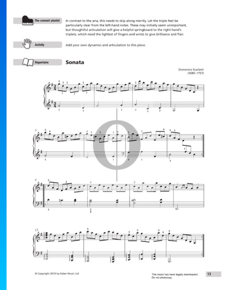 Sonata in G Major, K31 Partition