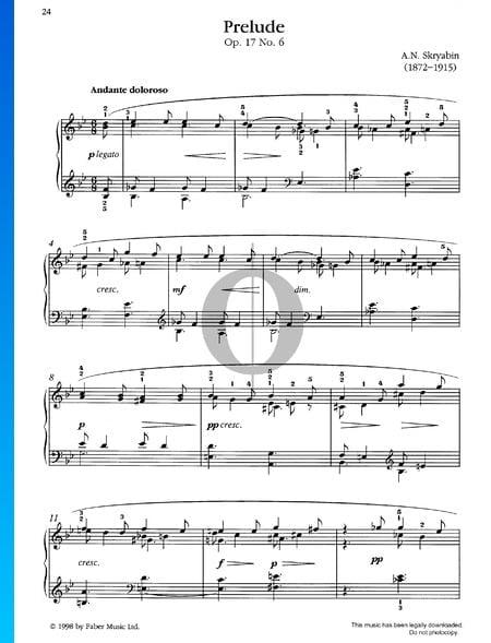 Praeludium, Op. 17 Nr. 6 Musik-Noten