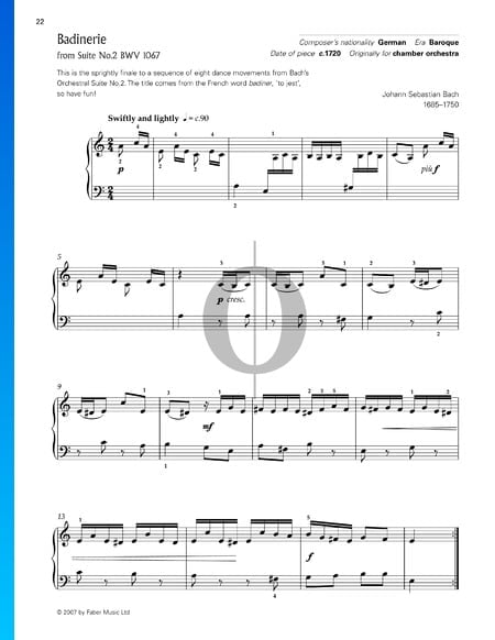 Orchestra Suite No. 2 in B Minor, BWV 1067: 7. Badinerie Sheet Music