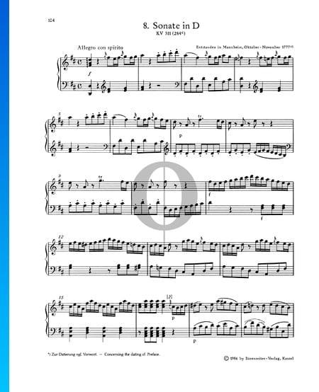 Klaviersonate Nr. 8 D-Dur, KV 311 (284c): 1. Allegro con spirito Musik-Noten