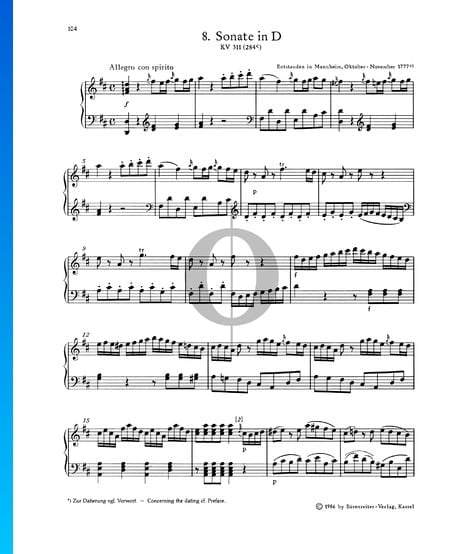 Piano Sonata No. 8 D Major, KV 311 (284c): 1. Allegro con spirito Sheet Music