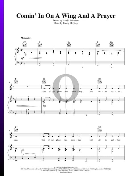 Comin' In On A Wing And A Prayer Sheet Music
