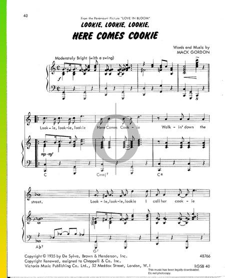 Lookie, Lookie, Lookie, Here Comes Cookie Sheet Music