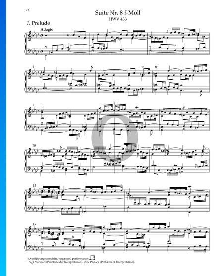 Suite No. 8 F Minor, HWV 433: 1. Prelude Sheet Music
