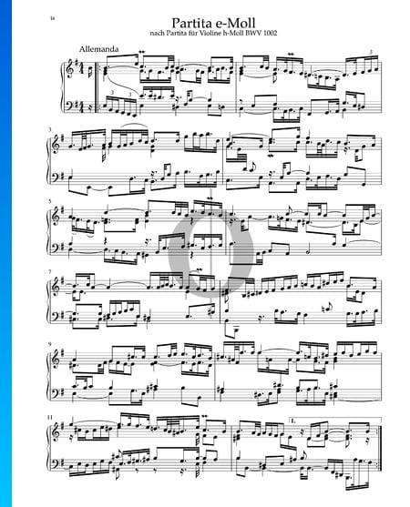 Partita in E Minor, BWV 1002: 1. Allemanda Sheet Music