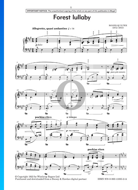 Country Pieces, Op. 27: No. 3 Forest Lullaby Musik-Noten
