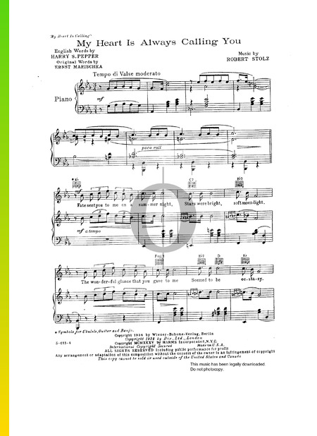 My Heart Is Always Calling You Sheet Music