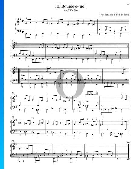 Bourrée en mi menor, BWV 996 Partitura
