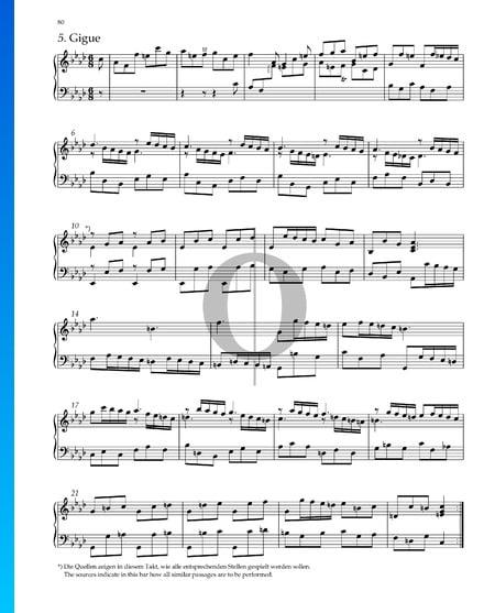 Suite n.º 8 en fa menor, HWV 433: 5. Giga Partitura