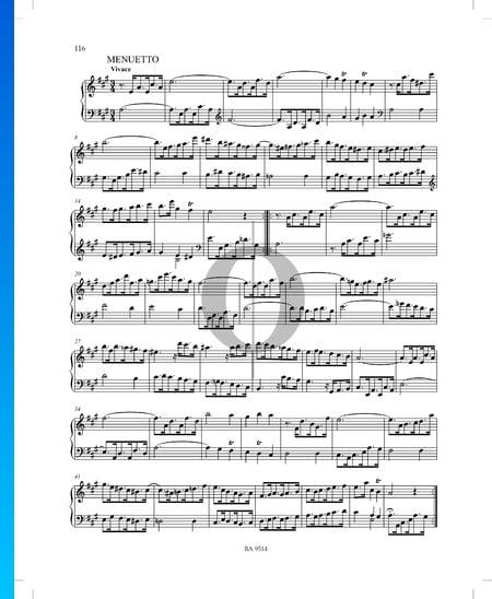 Sonata in A Major, P. XII: 45: 2. Menuetto Sheet Music