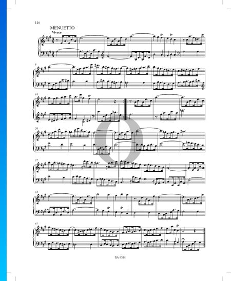 Sonate A-Dur, P. XII: 45: 2. Menuetto Musik-Noten