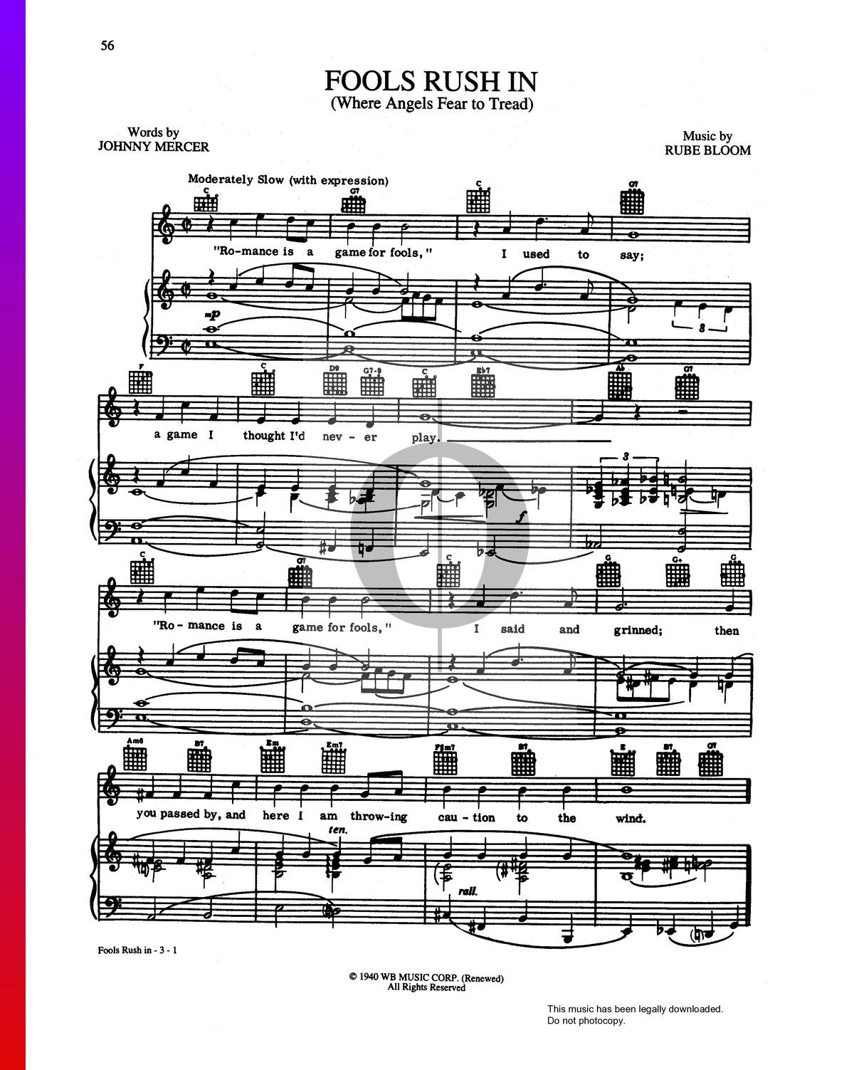 ▷ fools rush in (where angels fear to tread) sheet music (piano, voice,  guitar) - pdf download & streaming - oktav  oktav