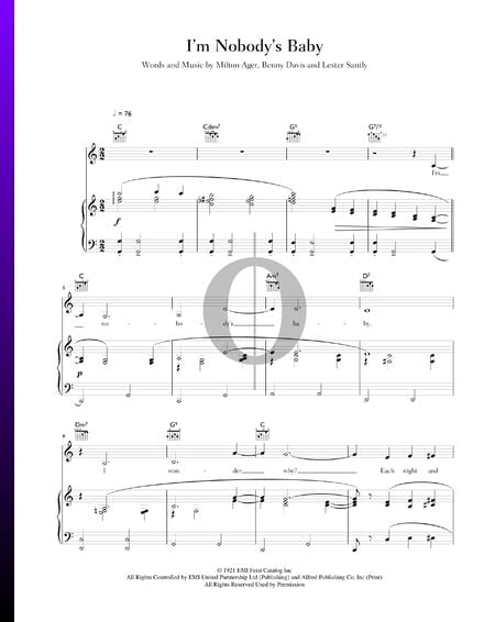I'm Nobody's Baby Sheet Music