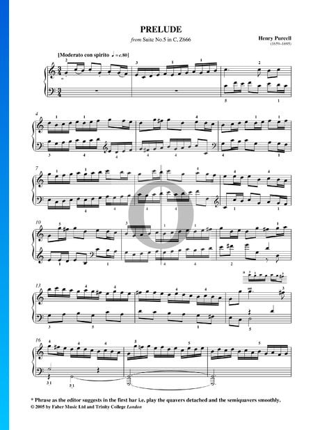 Suite No. 5 in C Major, Z666: 1. Prelude Sheet Music