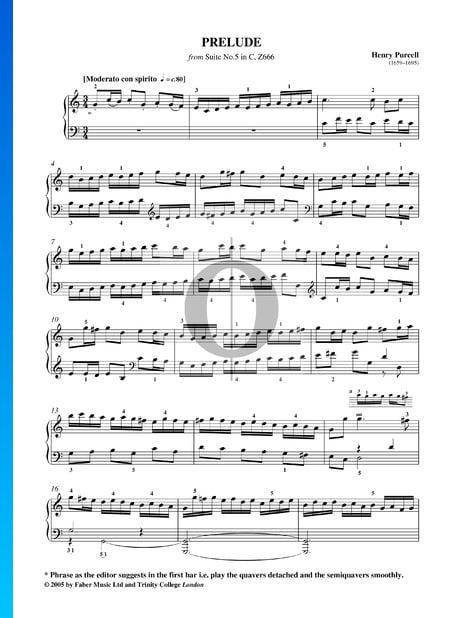 Suite Nr. 5 C-Dur, Z666: 1. Prelude Musik-Noten