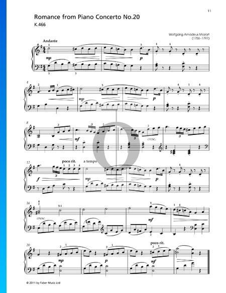 Concierto para piano n.º 20 en re menor, K. 466: 2. Romance Partitura