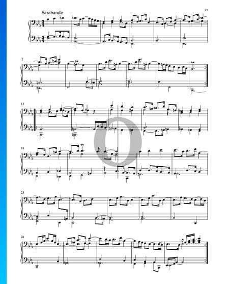 Suite en Mi bémol Majeur, BWV 1010: 4. Sarabande Partition