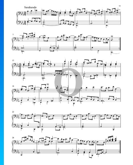 Suite in Es-Dur, BWV 1010: 4. Sarabande Musik-Noten