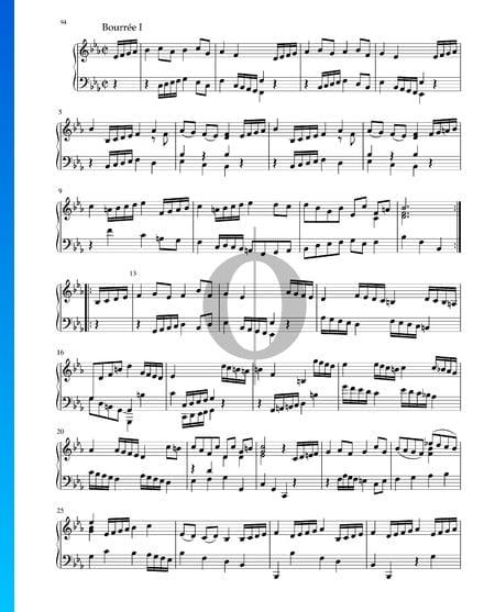 Suite en Mi bémol Majeur, BWV 1010: 5. Bourrée I und II Partition
