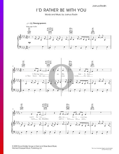 I'd Rather Be With You Sheet Music