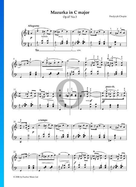 Mazurka in C Major, Op. 67 No. 3 Sheet Music
