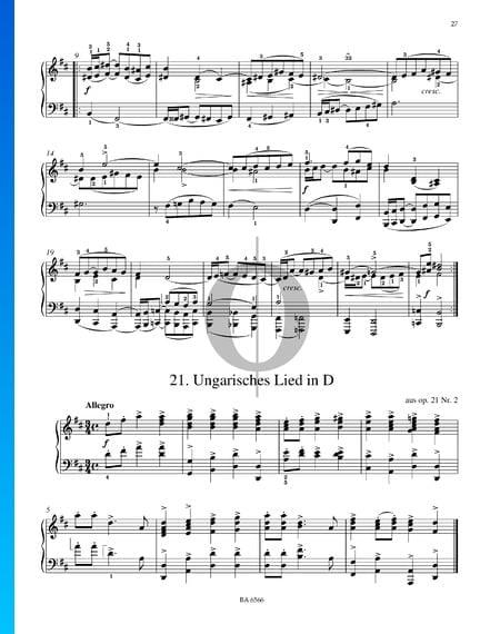 Ungarisches Lied D-Dur, aus Op. 21 Nr. 2 Musik-Noten