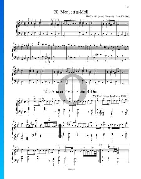 Aria con variazioni B-Dur, HWV 434/3 Musik-Noten