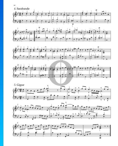 Suite n.º 7 en sol menor, HWV 432: 4. Sarabanda Partitura