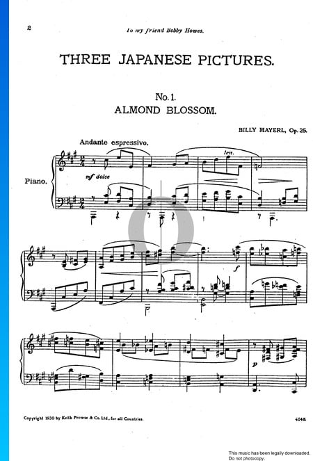 Three Japanese Pictures, Op. 25: No. 1 Almond Blossom Musik-Noten