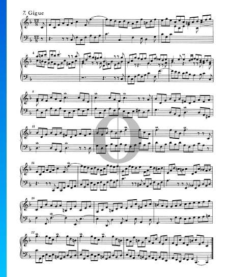 Suite inglesa n.º 4 en fa mayor, BWV 809: 7. Giga Partitura