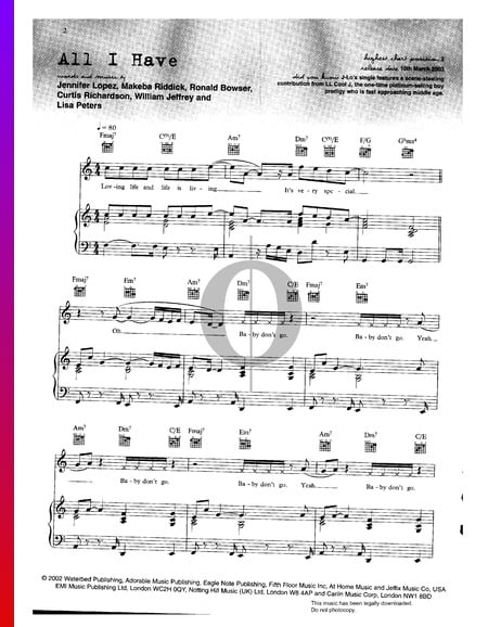 All I Have Sheet Music