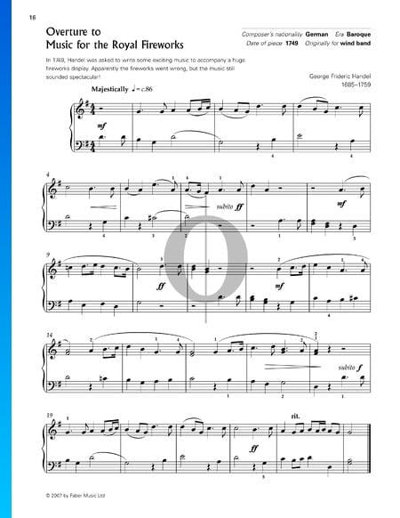 Feuerwerksmusik, HWV 351: Ouverture Musik-Noten