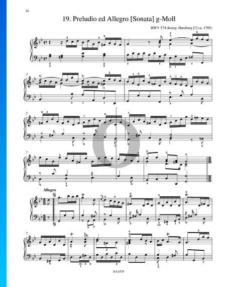 Preludio y Allegro, Sonata en sol menor, HWV 574 Partitura