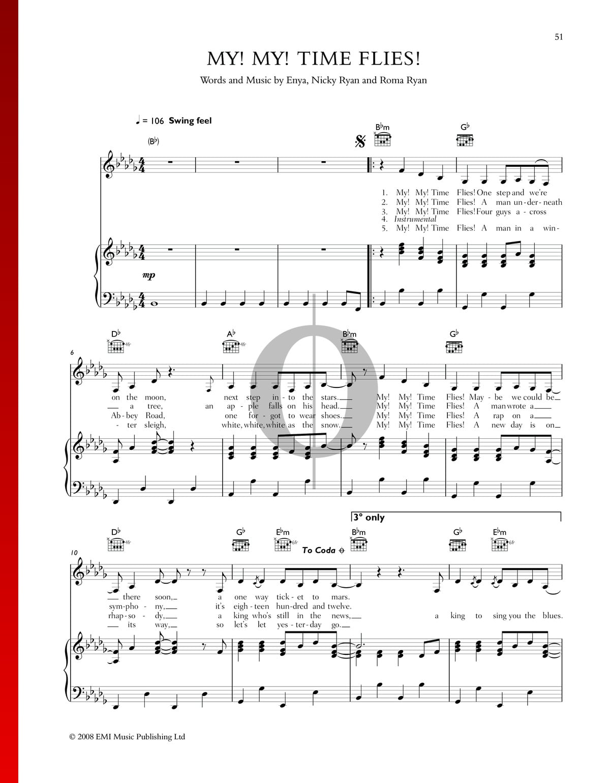 My My Time Flies Sheet Music Piano Voice Guitar