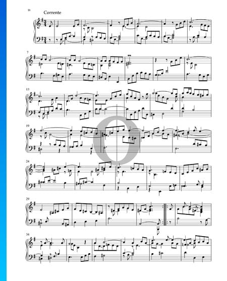 Partita in e-Moll, BWV 1002: 3. Corrente Musik-Noten
