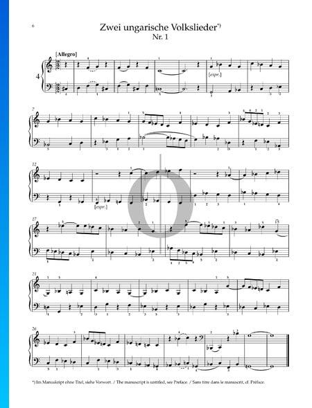 Deux Chansons Populaires Hongroises : No. 1 Allegro Partition