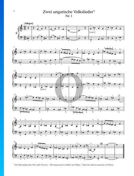 Dos canciones populares húngaras: n.º 1 Allegro Partitura