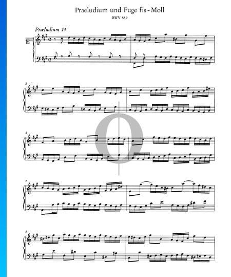 Praeludium 14 fis-Moll, BWV 859 Musik-Noten