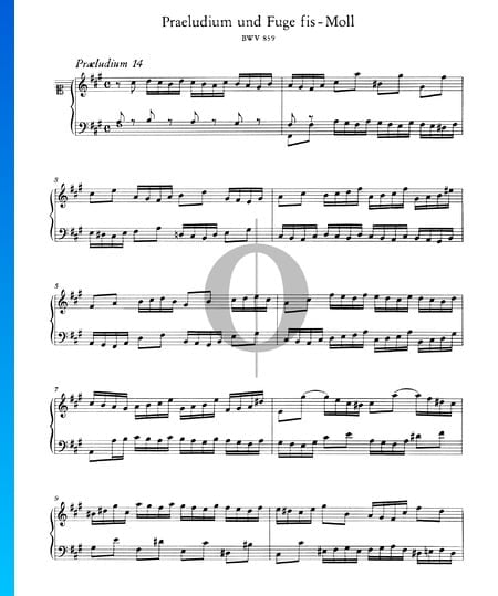 Prelude 14 F-sharp Minor, BWV 859 Sheet Music