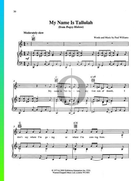 My Name Is Tallulah Sheet Music