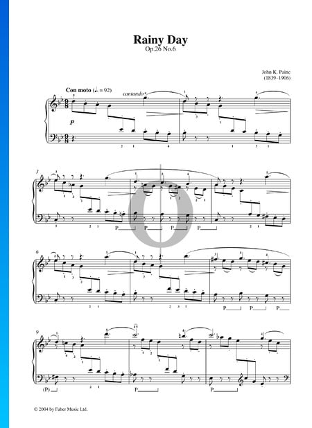 In the Country, Op. 26: No. 6 Rainy Day Partition