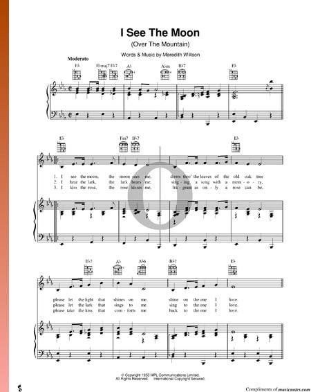 I See The Moon (Over The Mountain) Sheet Music