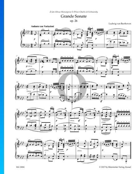 Grande Sonata (''Funeral March''), Op. 26: 1. Andante con Variazioni Sheet Music
