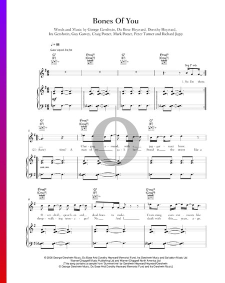 The Bones Of You Sheet Music